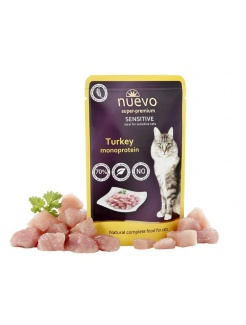 NUEVO cat Adult Sensitive Mono Turkey 85 g kapsičky